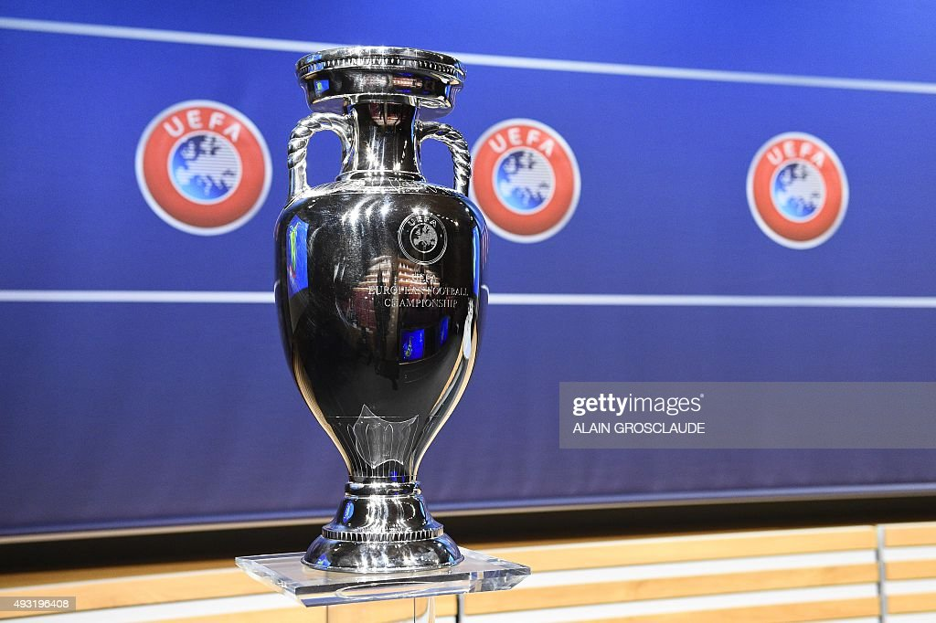 The Euro 2016 trophy is pictured during the UEFA Euro 2016 playoff draw ceremony on October 18 2015 in Nyon Switzerland The Euro 2016 will run in...