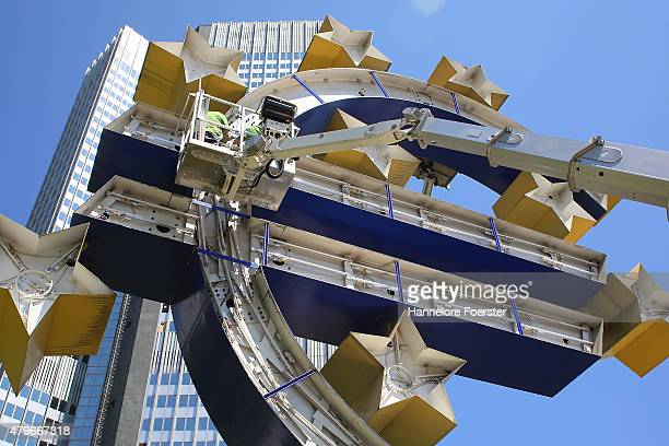 The Euro sculpture near the old ECB headquarters undergoes maintenance on July 6 2015 in Frankfurt Germany The DAX dropped slightly in the morning...