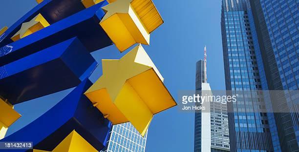 The Euro sign sculpture in Willy-Brandt Platz