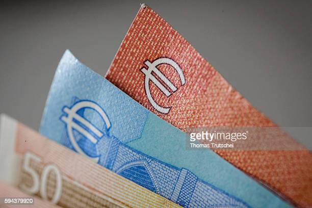 The Euro symbol can be seen on euro banknotes on August 23 2016 in Berlin Germany