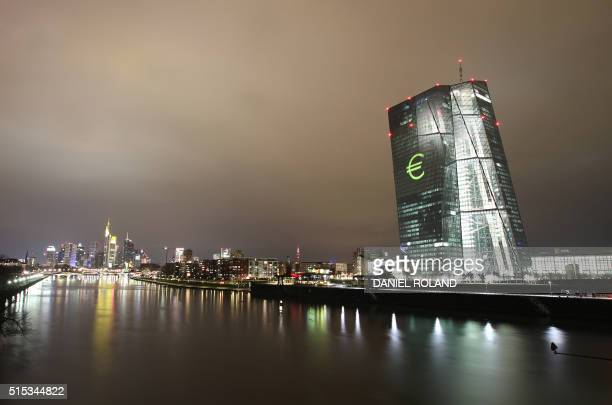The Eurologo is projected onto the main building of the European Central Bank ECB during a rehearsal of the 'Luminale' in Frankfurt/Main Germany on...
