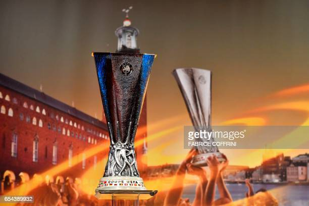 The Europa league cup is pictured prior to the ceremony for the quarterfinal draw of the quarterfinal draw for the UEFA Europa League football...