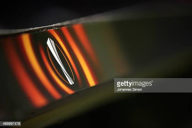 The Europa League logo is seen prior to the UEFA Europa League group L football match between FC Ausburg and AZ Alkmaar at WWK Arena on November 5...