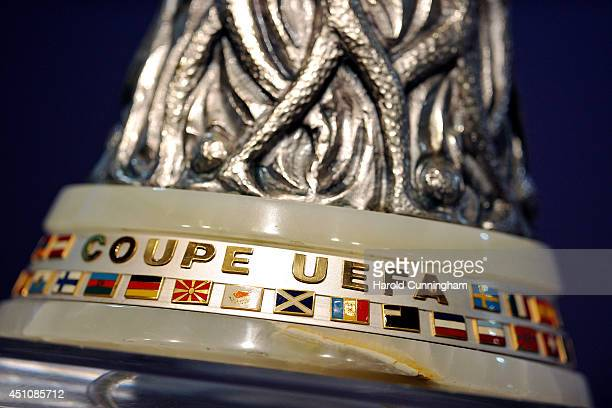 The Europa League trophy is displayed during the 2014/15 UEFA Europa League 1st and 2nd Qualifying Rounds draw at the UEFA headquarters The House of...