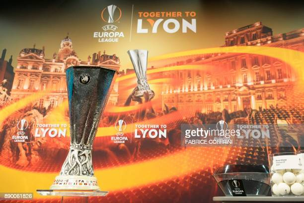 The Europa League trophy is displayed prior to the draw for the round of 32 of the UEFA Europa League football tournament at the UEFA headquarters in...