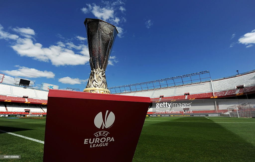 The Europa League trophy is displayed prior to the UEFA Europa League semi final 1st leg match between Sevilla FC v Valencia CF at Estadio Ramon Sanchez Pizjuan on April 24, 2014 in Seville, Spain.