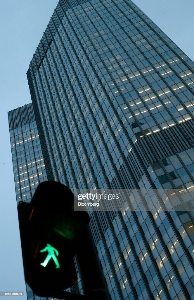 The European Central Bank (ECB) headquarters are seen beyond a pedestrian crossing signal system in Frankfurt, Germany, on Wednesday, Jan. 9, 2013. German two-year notes declined, pushing yields to the highest in 11 weeks, after European Central Bank President Mario Draghi said the decision to leave the key interest rate at 0.75 percent was 'unanimous.' Photographer: Ralph Orlowski/Bloomberg via Getty Images