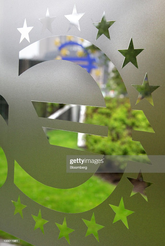 The European Central Bank (ECB) logo, featuring a euro symbol, is seen in Frankfurt, Germany, on Thursday, May, 20, 2010. Europe's debt crisis will depress the euro still further after it declined to the lowest level since 2006, according to UBS AG and BNP Paribas SA. Photographer: Hannelore Foerster/Bloomberg via Getty Images