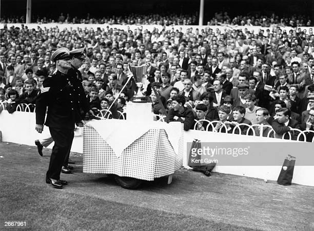 The European Cup Winners Cup on display before a match between Tottenham Hotspur and Nottingham Forest