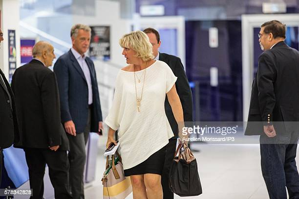 The European Deputy Les Républicains and Right candidate in the Presidential Elections 2017 Nadine Morano attends the special political bureau...