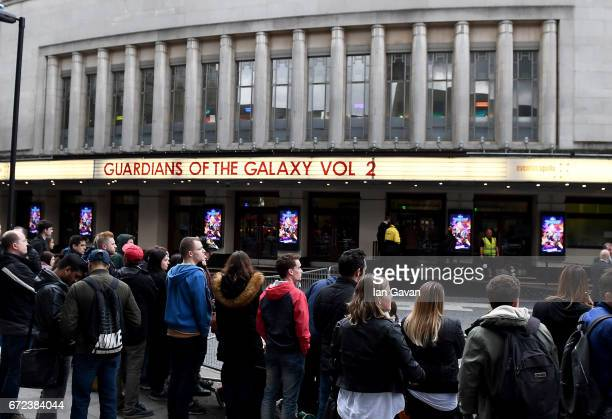 The European launch event of Marvel Studios' 'Guardians of the Galaxy Vol 2' at the Eventim Apollo on April 24 2017 in London England