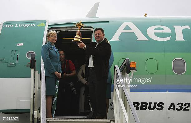 The European Ryder Cup team captain Ian Woosnam hold up the troph after arriving from London prior to the 2006 Ryder Cup at Dublin Airport on...