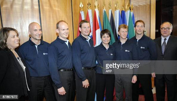 The European Space Agency new astronauts Italian Luca Parmitano German Alexander Gerst Danish Andreas Mogensen Italian Samantha Cristoforetti British...