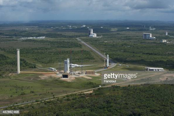 The European Space Agency's Automated Transfer Vehicle atop an Ariane 5 rocket is rolled out to the launch pad at the Arianespace launch site July 28...