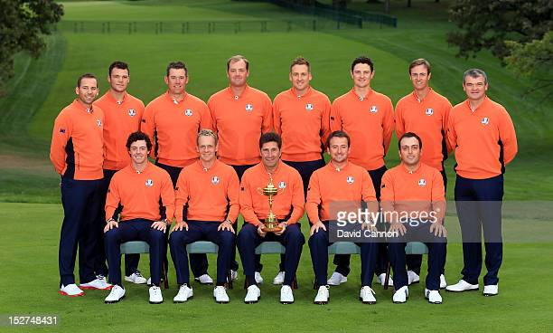 The European Team back row LR Sergio Garcia Martin Kaymer Lee Westwood Peter Hanson Ian Poulter Justin Rose Nicolas Colsaerts Paul Lawrie fron row LR...