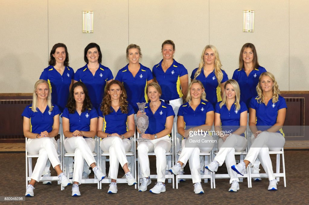 The European team (L-R seated) Madelene Sagstrom, Georgia Hall, Florentyna Parker, Annika Sorenstam (captain), Emily Kristine Pedersen, Jodi Ewart Shadoff, Anna Nordqvist, (L-R standing) Carlota Ciganda, Caroline Masson, Melissa Reid, Suzann Pettersen, Charley Hull, Karine Icher at the official photcall as a preview for the 2017 Solheim Cup Matches at Des Moines Country Club on August 15, 2017 in West Des Moines, Iowa.