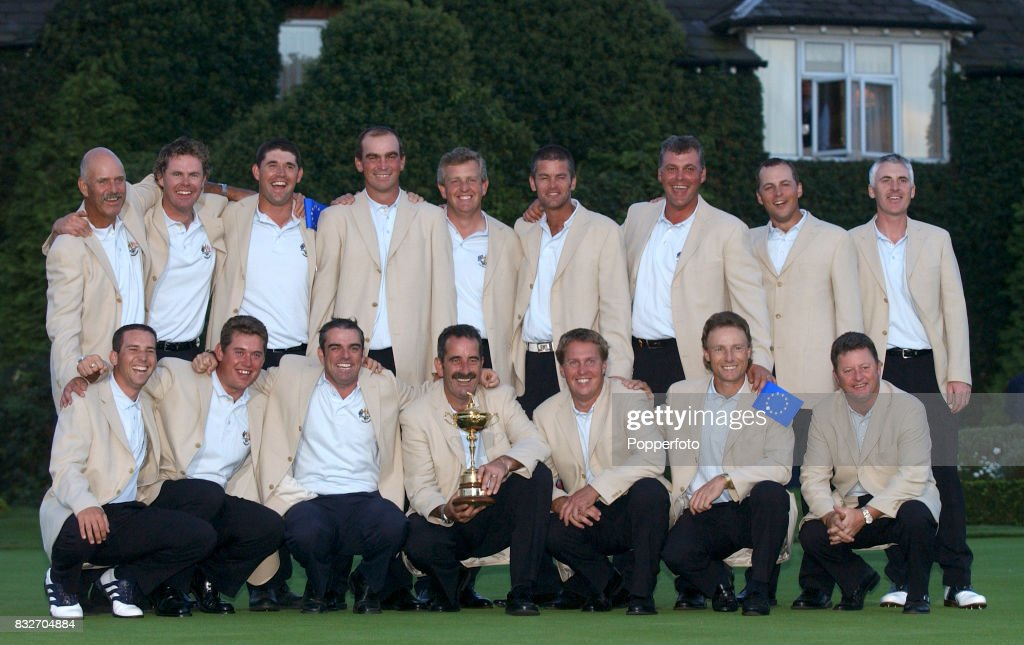 The European Team with the trophy after their 151/2 to 121/2 Ryder Cup victory over Team USA at The Belfry on September 29th 2002 Left to right back...