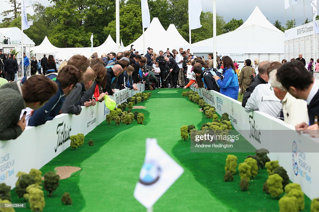 The European Tour Chief Executive <a gi-track='captionPersonalityLinkClicked' href=/galleries/search?phrase=Keith+Pelley&family=editorial&specificpeople=8533833 ng-click='$event.stopPropagation()'>Keith Pelley</a> putts at the launch of the Totally Mega Putt Challenge initiative in the Championship Village prior to the BMW PGA Championship at Wentworth on May 25, 2016 in Virginia Water, England.