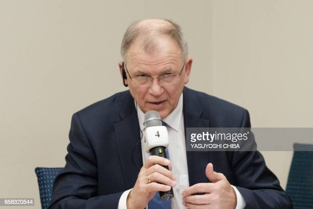The European Union Commissioner for Health and Food Safety Vytenis Andriukaitis participates in a discussion about insectborne diseases at the...