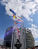 The European Union flag flies in front of the European Parliament in Strasbourg eastern France to mark the inaugural European Parliament session on...