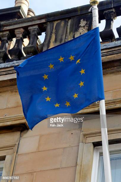 The European Union flag outside the offices of the European Commission as proCatalonia demonstrators march through the West End of Edinburgh to...