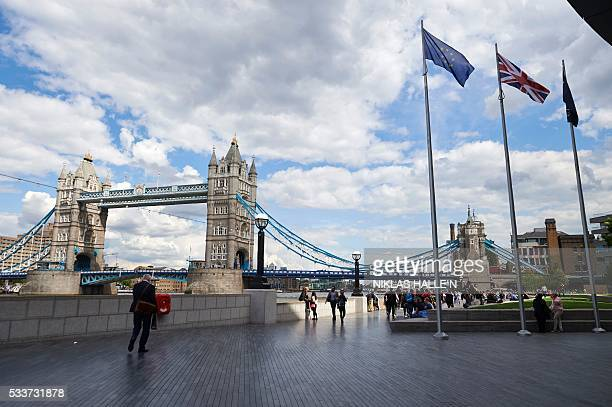 The European Union flag the British Union flag and the City Hall flag fly outside City Hall the headquarters of the Greater London Authority in...