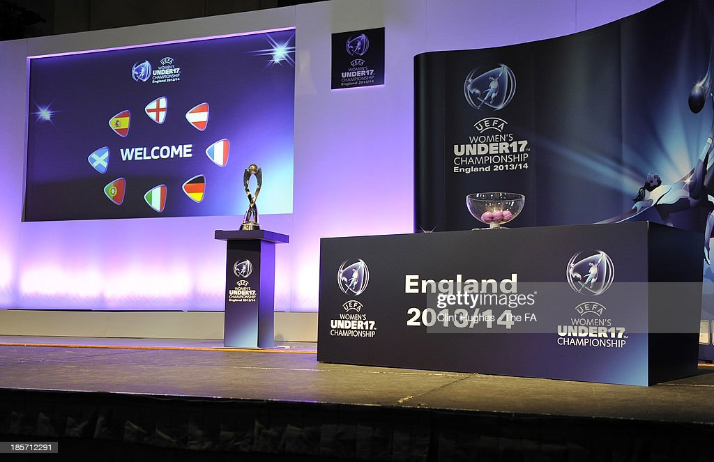 The European Women's Under 17 trophy is displayed during the UEFA European Women's Under 17 Championship Draw at Burton Town Hall on October 24, 2013 in Burton upon Trent, England