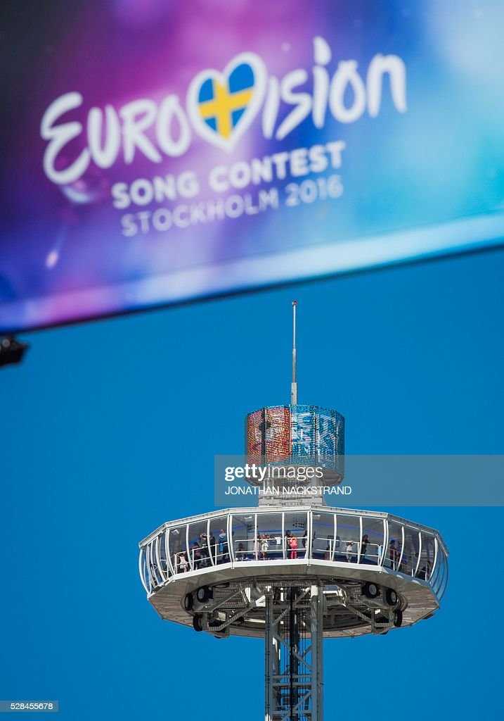 The Eurovision 81-metre tower, the City Skyliner, is pictured in the Eurovision Village in central Stockholm, Sweden on May 5, 2016. The contest will consist of two semi-finals on 10 and 12 May and the final on 14 May 2016 at the Ericsson Globe in Stockholm. / AFP / JONATHAN