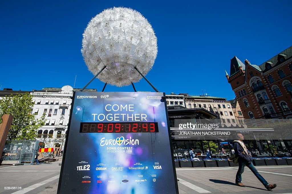 The Eurovision count down clock is seen in Stockholm, Sweden on May 5, 2016. The contest will consist of two semi-finals on 10 and 12 May and the final on 14 May 2016 at the Ericsson Globe in Stockholm. / AFP / JONATHAN