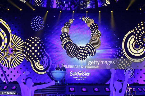The Eurovision logo is seen on the stage during preparations for the Eurovision Song Contest inside the International Exhibition Center in Kiev...