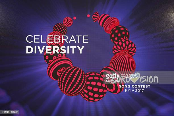 The Eurovision Song Contest 2017 logo during the SemiFinal Draw of the 62st Eurovision Song Contest at the City Hall in Kiev Ukraine on 31 January...