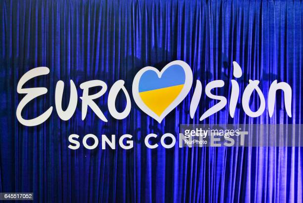The Eurovision Song Contest 2017 logo is seen during the Ukrainian final of the national qualification for the Eurovision Song Contest in Kiev...