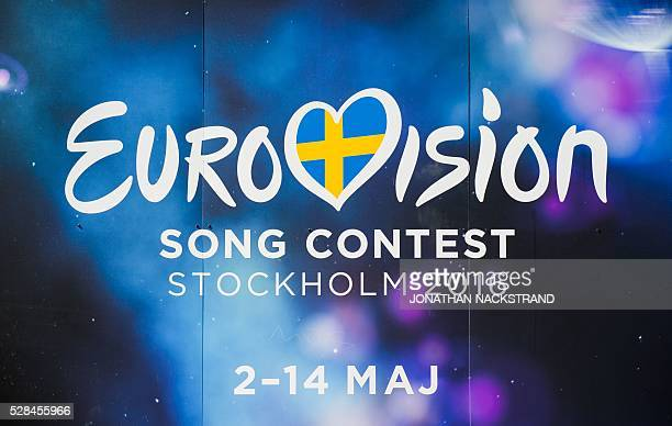 The Eurovision Song Contest logo is pictured in central Stockholm Sweden on May 5 2016 The contest will consist of two semifinals on 10 and 12 May...