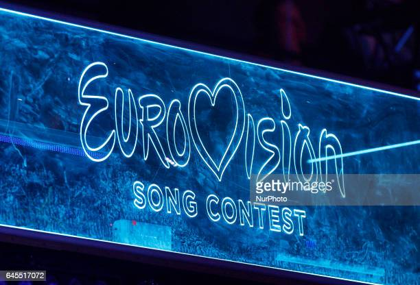 The Eurovision Song Contest logo is seen during the Ukrainian final of the national qualification for the Eurovision Song Contest in Kiev Ukraine 25...