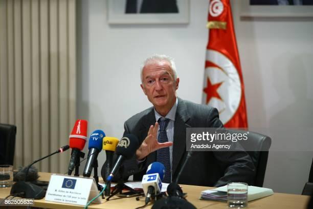 The EU's antiterrorism coordinator Gilles de Kerchove holds a press conference at EU building in Tunis Tunisia on October 17 2017