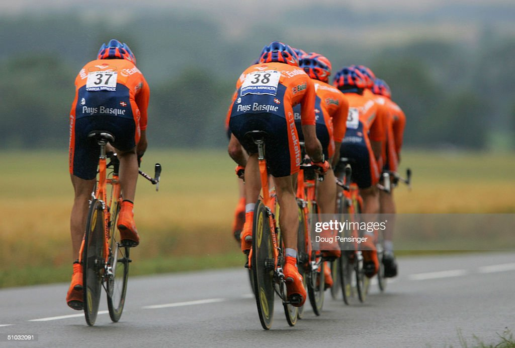 The Euskatel Euskadi team competes in the Team Time Trial as they finished eighth during Stage 4 of the Tour de France July 7 2004 from Cambrai to...
