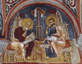 The Evangelists Luke and Matthew writing the Gospels Karanlik Kilise Goreme Cappadocia Turkey