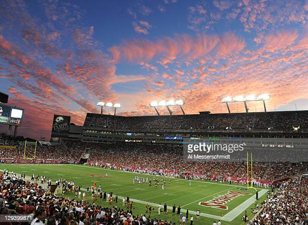 The evening sky at sunset as the New Orleans Saints play against the Tampa Bay Buccaneers October 16 2011 at Raymond James Stadium in Tampa Florida