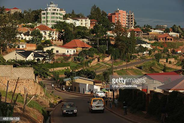 The evening sun falls over the Remera District of the capital April 5 2014 in Kigali Rwanda Built in hilly country in the heart of the African...