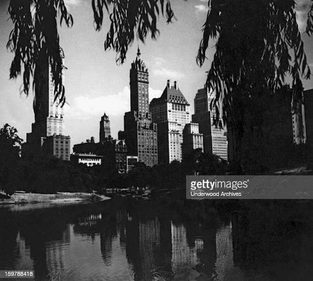 The evening view from Central Park of the new Hotel Netherland on the left and the new Hotel SavoyPlaza on Fifth Avenue in New York city New York New...