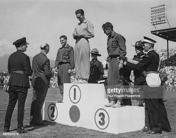 The medals are awarded for the Marathon event at the Empire Stadium during the British Empire and Commonwealth Games in Vancouver Canada July August...