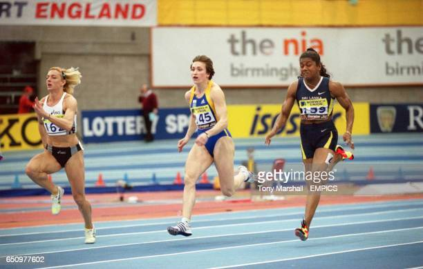 The eventual first three in the women's 60m in action winner Petya Pendareva of Bulgaria third placed Anzhela Kravchenko of Ukraine and second placed...