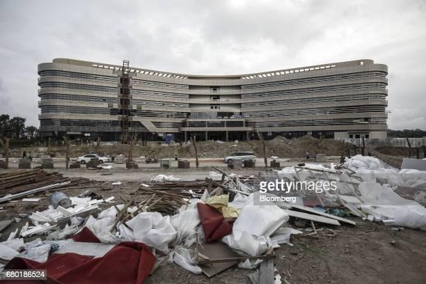 The Evergrande International Hospital stands under construction inside the Hainan Boao Lecheng InternationalMedicalTourismPilotZone in Boao China...