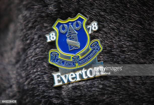 The Everton badge is seen on a fans hat prior to the Premier League match between Everton and Sunderland at Goodison Park on February 25 2017 in...