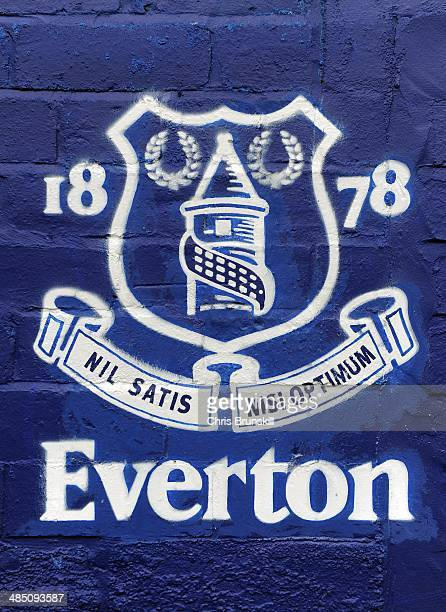 The Everton club crest is seen outside the stadium ahead of the Barclays Premier League match between Everton and Crystal Palace at Goodison Park on...