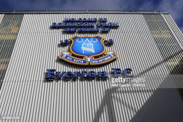 The Everton club crest outside Goodison Park