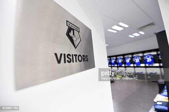 The Everton dressing room before the Barclays Premier League match between Watford and Everton at Vicarage Road on December 10 2016 in Watford England