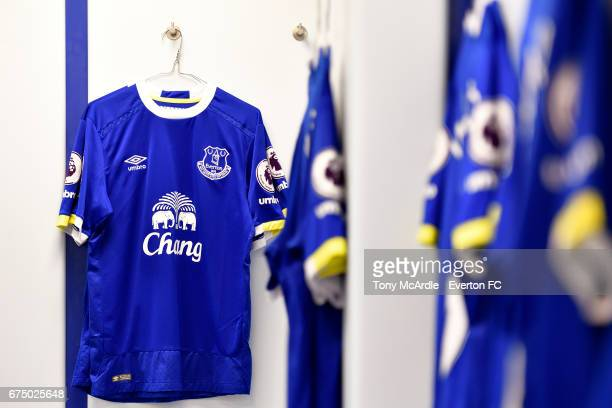 The Everton dressing room before the Premier League match between Everton and Chelsea at the Goodison Park on April 30 2017 in Liverpool England