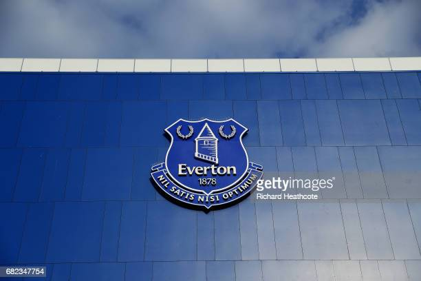 The Everton logo is seen on the stadium prior to the Premier League match between Everton and Watford at Goodison Park on May 12 2017 in Liverpool...