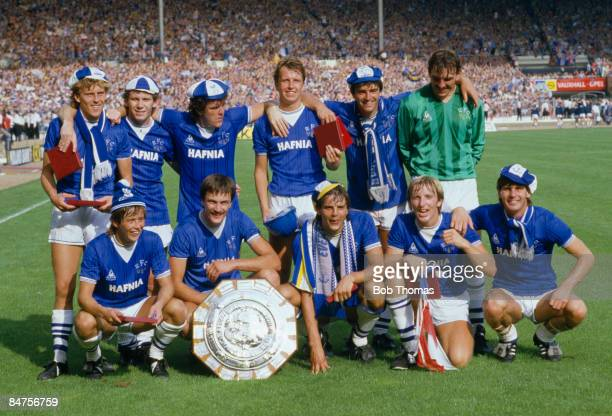 The Everton team with the FA Charity Shield after their 10 victory over Liverpool at Wembley Stadium August 18th 1984 Back row Kevin Richardson Peter...